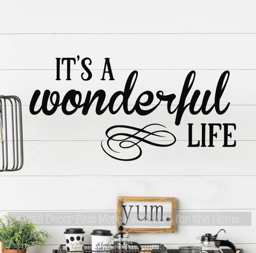 Wonderful Life Wall Decal Sticker Quote Motivational Home Office Words-Black