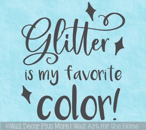 Glitter Favorite Color Wall Word Vinyl Decal Sticker Girls Craft Room Art