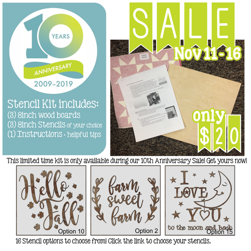 10th Anniversary SALE STENCIL Sticker + Wood Kit 3 designs 8x8-inch