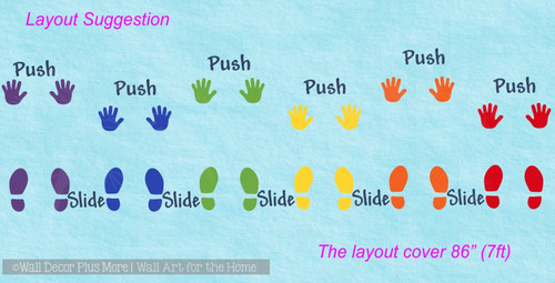 Sensory Path Wall Pushes Slide Sticker Decals School Hallway Foot Hands