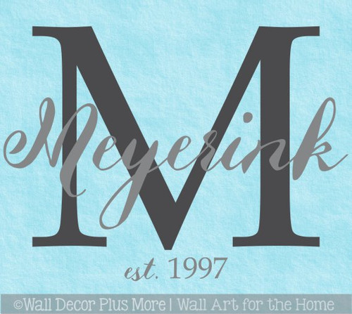 Personalized Wall Decal Monogram Cursive Last Name Custom Letter Stickers