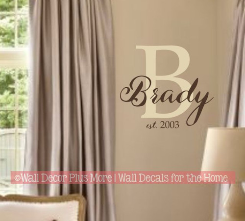 Personalized Wall Decal Monogram Cursive Last Name Custom Letter Stickers-Beige/Chocolate Brown