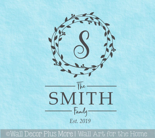 Personalized Wall Decor Sticker Family Name Decal Custom Letter in Wreath