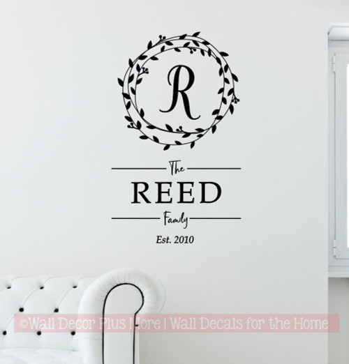 Personalized Wall Decor Sticker Family Name Decal Custom Letter in Wreath-Black