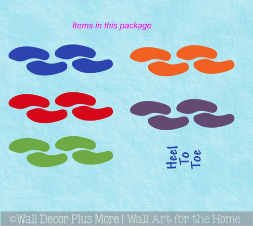 Sensory Path Decal Stickers Heel to Toe 20 Footprints 5 Color Covers 19 Ft