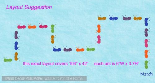 Sensory Path Marching Ants Vinyl Sticker Decals School Hallway Floor 25pc- 6 Color