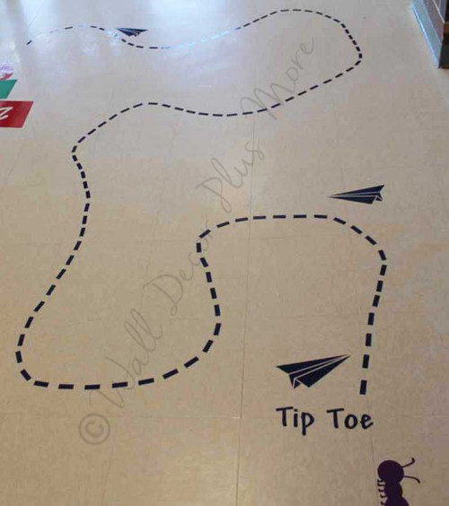 Sensory Path Tip Toe Line Paper Airplanes Sticker Decals School Hallway-Layout Suggestion