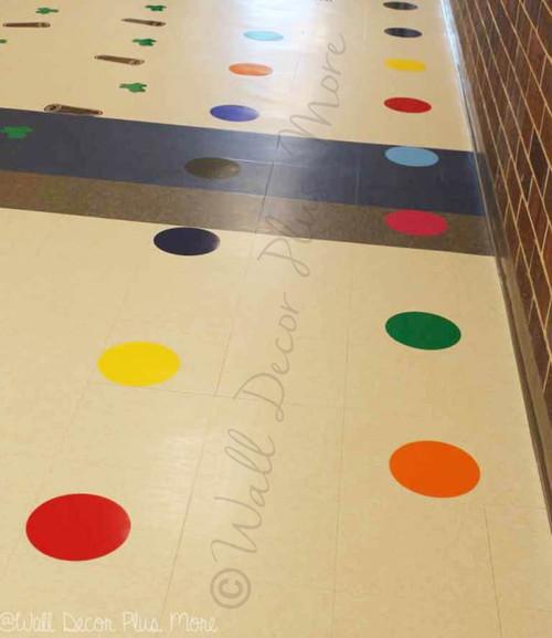 Sensory Path 8-Inch Polka Dot Stickers Vinyl Decals School Hallway Hop