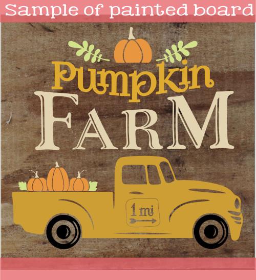 Pumpkin Farm Stencil Sticker for Fall Wood Sign Project Vintage Truck Sample Stencil Painting