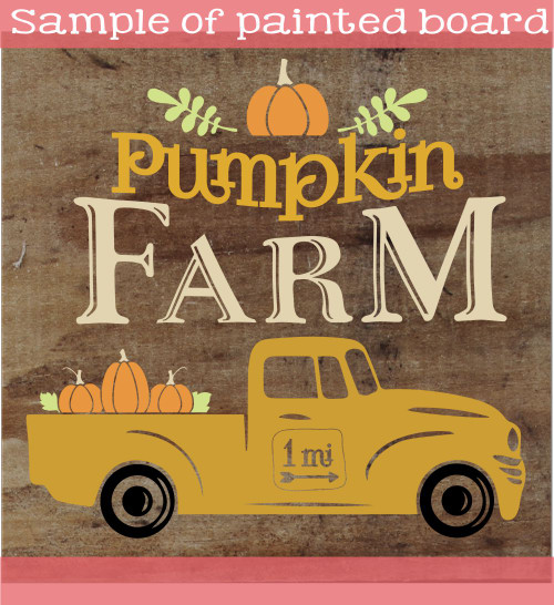 Pumpkin Farm Stencil Sticker for Fall Wood Sign Project Vintage Truck Sample Stencil Painting