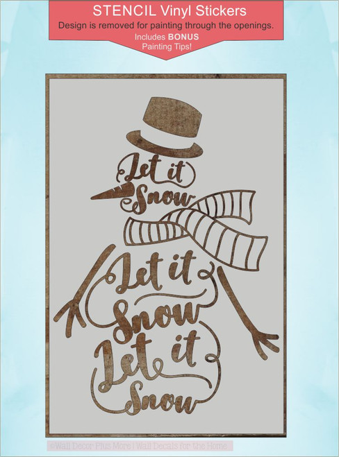 Stencil Sticker to Paint a Wood Sign Let it Snow Snowman Winter Decor