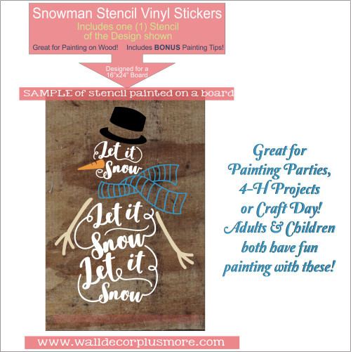 Stencil Sticker to Paint a Wood Sign Let it Snow Snowman Winter Decor Sample of Stencil Painting