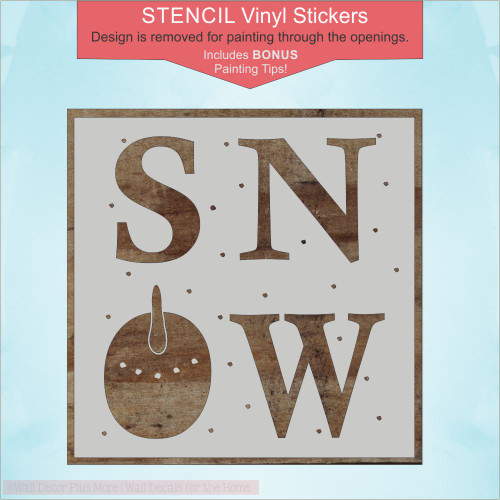 Stencil Sticker Snow Snowman Face for Painting Winter Board Wood Sign