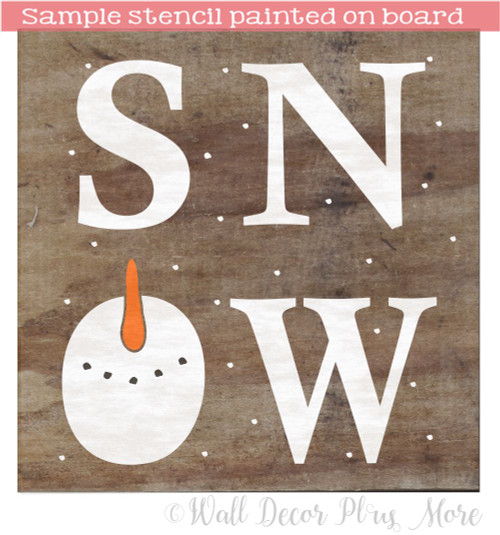 Stencil Sticker Snow Snowman Face for Painting Winter Board Wood Sign Sample Painting