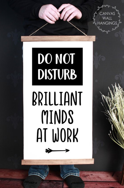 Wood Canvas Wall Hanging Office Decor Sign Brilliant Minds At Work Quote Large