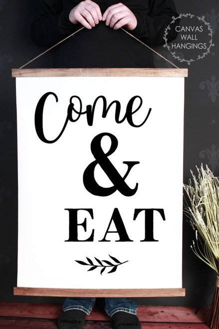 Wood Canvas Wall Hanging Kitchen Art Decor Come & Eat Farmhouse Sign XLarge