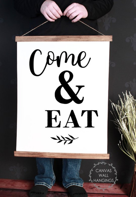 Wood Canvas Wall Hanging Kitchen Art Decor Come & Eat Farmhouse Sign Large
