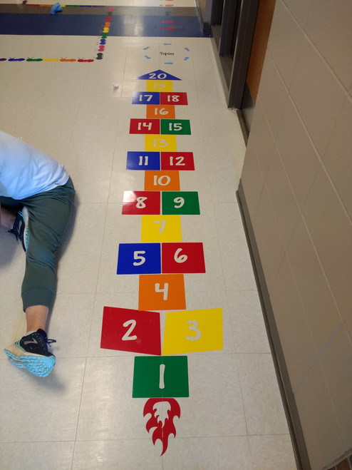 Sensory Path Floor Decal Stickers for School Hallway Hopscotch Numbers-shown applied to school hallway