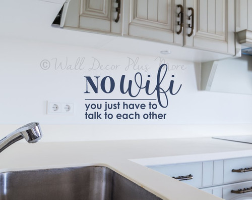 No Wifi Wall Art Decal Sticker Design Quote for Kitchen Family Room Decor-Deep Blue