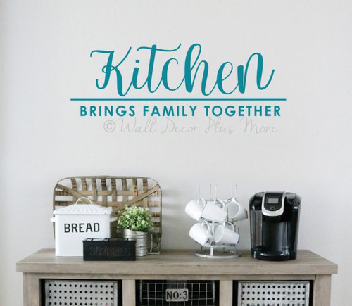 Kitchen Wall Decor Sticker Brings Family Together Quote Decal Art Words-Teal