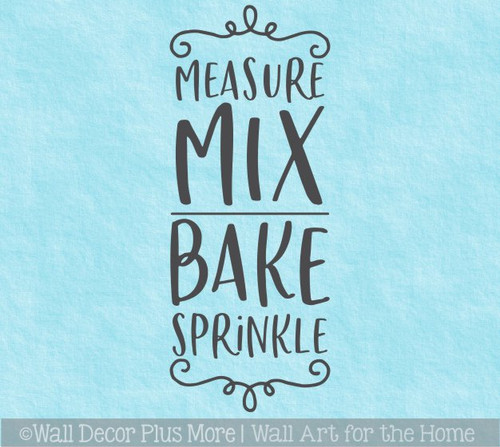 Kitchen Wall Words Measure Mix Bake Vinyl Decal Sticker for Decoration