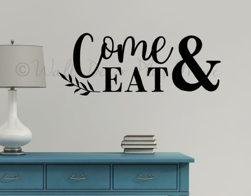 Modern Kitchen Wall Quote Letters Come Eat Leaf Decor Art Decal Sticker-Black