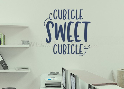 Sweet Cubicle Office Wall Art Sticker Words Vinyl Decal Workspace Quote-Deep Blue