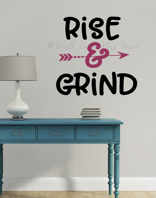 Office Gym Wall Decal Rise Grind Vinyl Lettering Motivational Sticker-Black, Berry