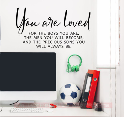 You are loved Sons Quote Boys Room Home Decor Wall Decal Art Stickers-Black