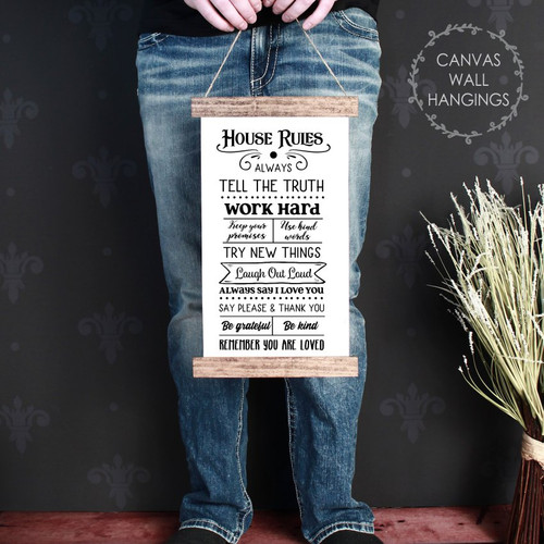 Wood Canvas Wall Hanging House Rules Sign Family Decor Art Living Room CWH0213 small