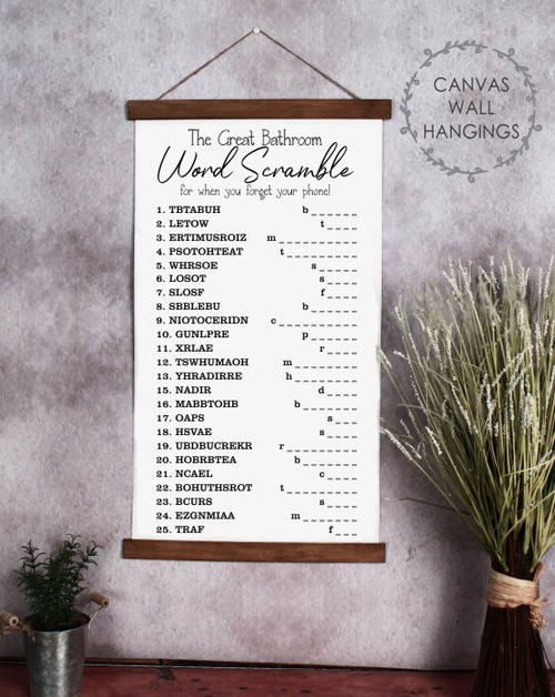 Canvas Wood Wall Hanging Word Scramble Fun Bathroom Wall Sign Decor Art CWH0215 Large