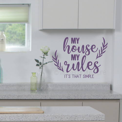 Home Wall Decor Quote My House My Rules Vinyl Decal Lettering Sticker WD1689 Plum