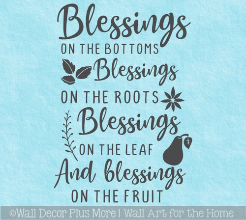 Kitchen Wall Decal Quote Blessing on Root Leaf Fruit Decor Sticker Verse WD1693