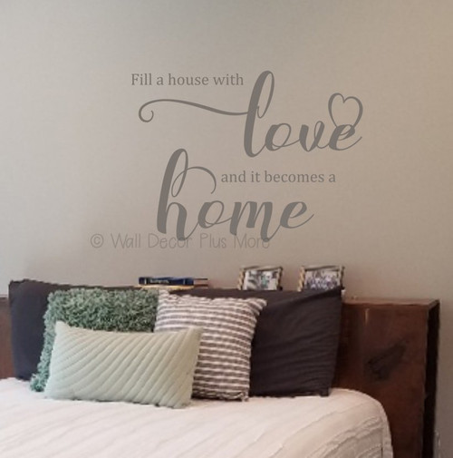 Decals for Home Fill House With Love Wall Quote Stickers Vinyl Decor Art WD1695 Castlegray