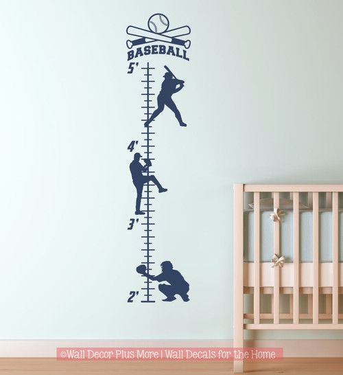 Boys Height Ruler Growth Chart Decal Sticker Baseball Player Silhouette-Deep Blue