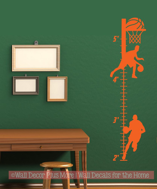 Boys Height Ruler Growth Chart Decal Sticker Basketball Sport Silhouette-Orange
