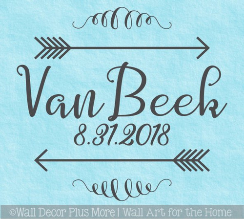 Personalized Wall Decals Last Name Wedding Date Arrows Scroll Stickers