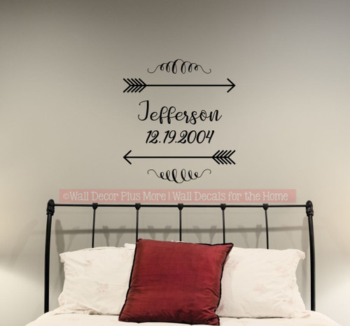 Personalized Wall Decals Last Name Wedding Date Arrows Scroll Stickers-Black