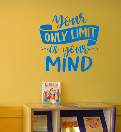 Inspirational Quote Wall Art Only Limit is Your Mind Decal Sticker Decor-Traffic Blue