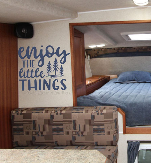 Enjoy The Little Things Motivational Wall Decor Sticker Tree Art Decal-Deep Blue