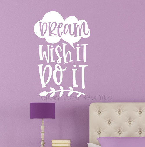 Dream Wish Do It Inspirational Wall Decor Sticker Lettering Decal Art-White