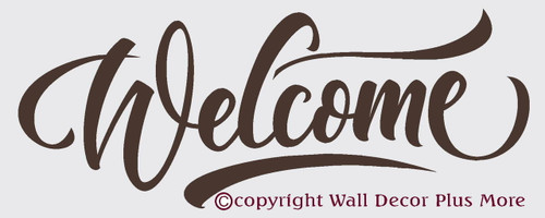 Welcome with swoops Wall Vinyl Decal , Front Door or Entryway Decor