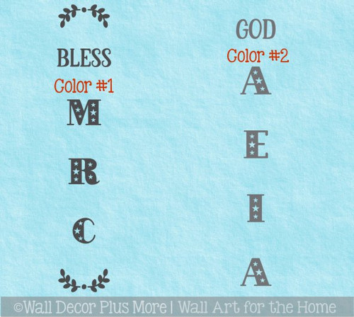 Decal Sticker for Tall Wood Sign Decor God Bless America Patriotic 2-color