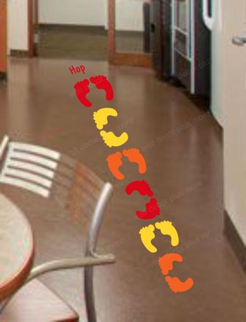 Sensory Path Floor Vinyl Decal Stickers Daycare School Hallway Feet Hop Red Yellow Orange