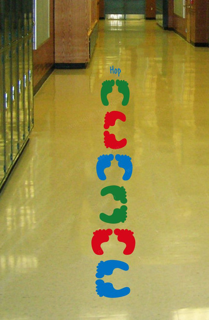 Sensory Path Floor Vinyl Decal Stickers Daycare School Hallway Feet Hop LimeGreen Red Blue