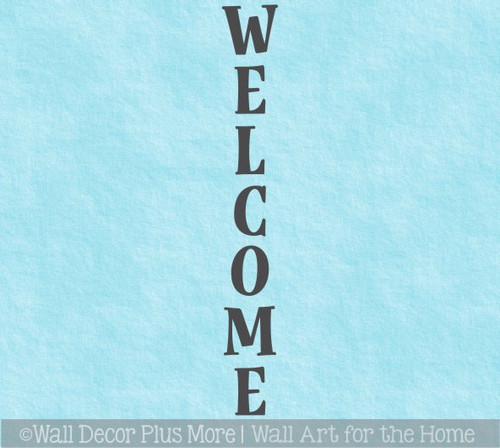 Decal Sticker for Tall Wood Sign Vertical Welcome Lettering Porch Decor