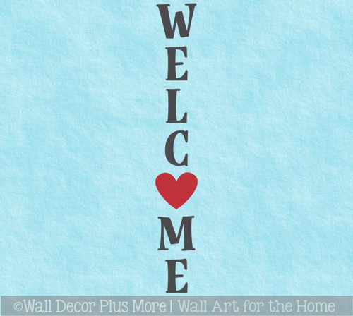 Decal Sticker for Tall Wood Sign Vertical Welcome with Heart Porch Art