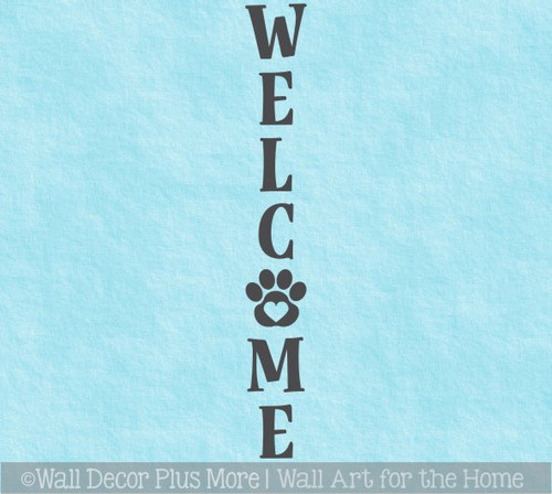 Decal Sticker for Tall Wood Sign Dog Cat Pet Welcome Letters PawPrint
