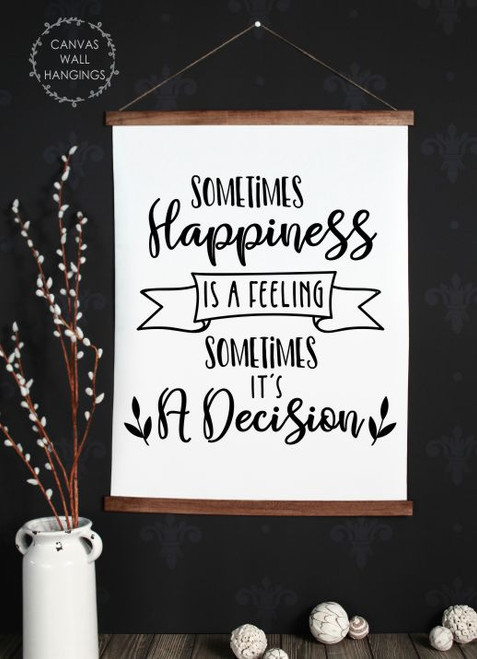 Wood Canvas Wall Hanging Happiness Quote Decision Feeling Sign Decor Art- 23x30