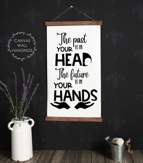 Wood Canvas Wall Hanging Past In Your Head Future in Hands Sign Decor- 15x26